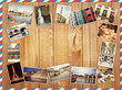 different photos of Paris, Travel Collage on a wooden background