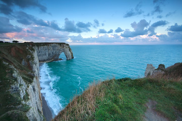 cliffs in Etretat at sunrise