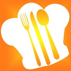 toque de cuisinier, fourchette, couteau et cuiller