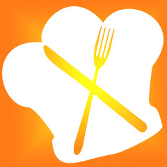 toque de cuisinier, fourchette et couteau croisés