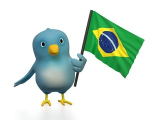 Bluebert with flag of Brazil