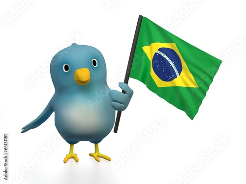 canvas print picture Bluebert with flag of Brazil