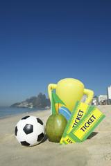 Brazil Soccer Champion Trophy Football Tickets Coconut