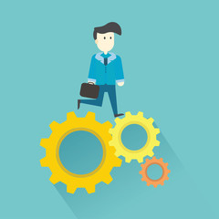 business man on cog wheel,vector,illustration.
