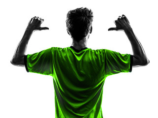 rear view portrait soccer football player young man pointing  si