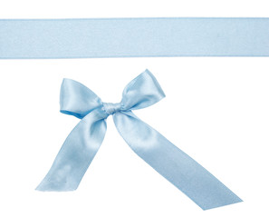 Blue ribbon with a bow isolated on white background
