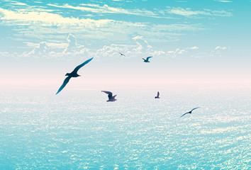 Sea sky landscape travel vacation