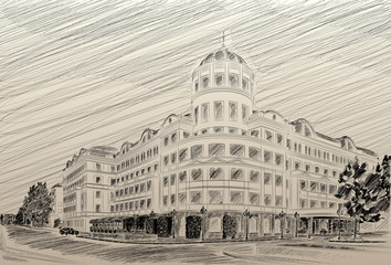 Donetsk Donbass Palace hotel drawing pencil