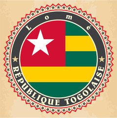 Vintage label cards of Togo flag.