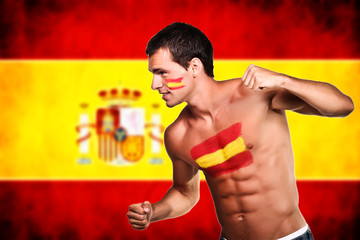 Spanish football fan is ready for fight over spanish flag