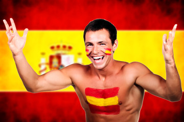 spanish soccer fan over spain flag background