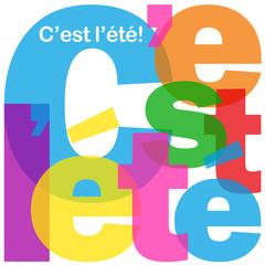 """Mosaïque de Lettres """"C'EST L'ETE"""" (été vacances saison soleil)"""
