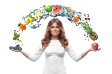 smiling woman with fruits isolated
