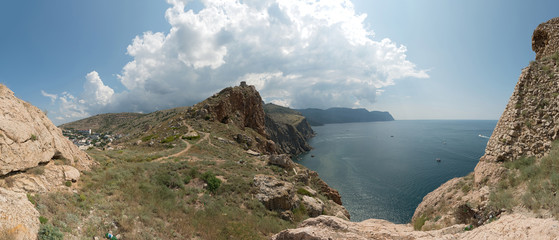 Crimea coastline near entrance to the Balaklava Inlet, Sevastopo