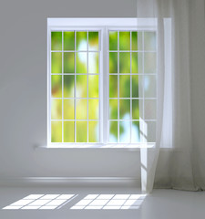 Modern residential window with trees behind. Empty white room.