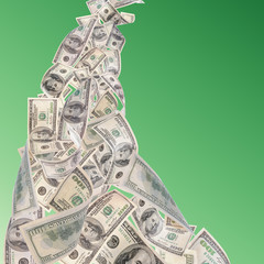 Flying dollars banknotes on green background