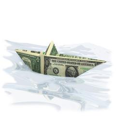 Papierschiffchen mit 1 Dollar