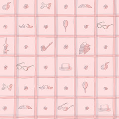 Vintage seamless hand drawn pattern with moustache, hat, flowers