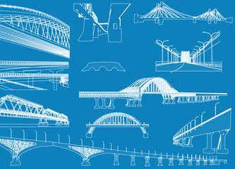 white bridges collection isolated on blue