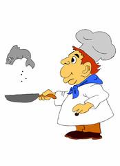 cuoco cucina un pesce