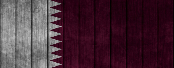Illustration with flag in map on grunge background - Qatar