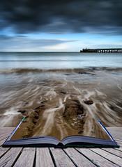 Book concept Long exposure seascape landscape during dramatic ev