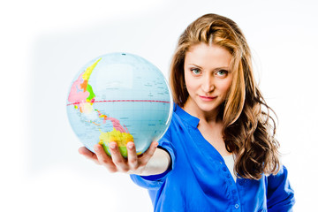 young and beautiful woman with globe