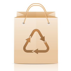 Paper bag with emblem ecology isolated on white background