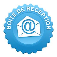 boite de réception sur bouton web denté bleu