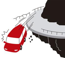 崖から落ちる車