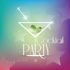 Cocktail party invitation with martini glass