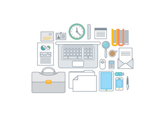 Simple line illustration of a modern business concept set