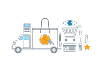 Simple line illustration of a modern shopping concept set