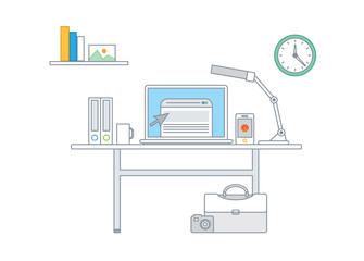 Simple line illustration of a modern business concept set