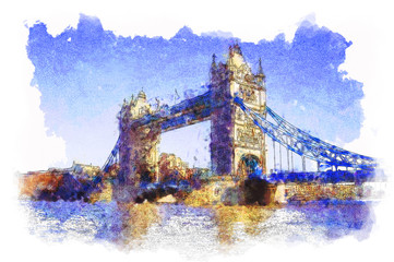 water colored picture of Tower Bridge in London