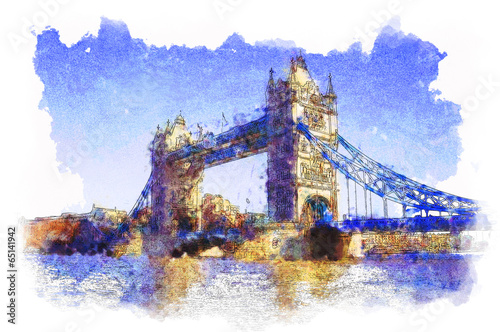 water colored picture of Tower Bridge in London - 65141942