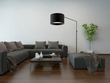 Wnętrze w salonie. szara kanapa i lampa podłogowa