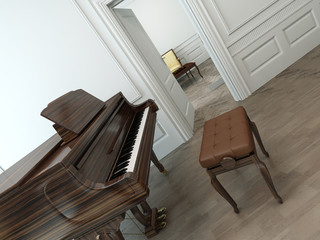 Vintage interior with a classical grand piano