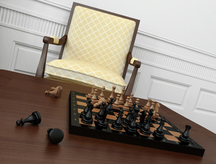 Close-up of vintage chess game on coffee table