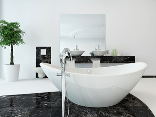 Bathroom interior with nice freestanding bathtub