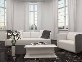 Living room with bay window and white couch