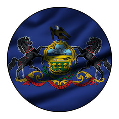 Illustration of a waving flag in a round circle - Pennsylvania
