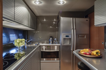 Italy, Naples, Atlantica luxury yacht, dinette, kitchen area