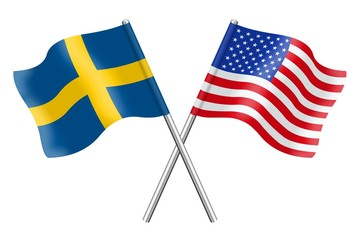 Flags : Sweden and USA