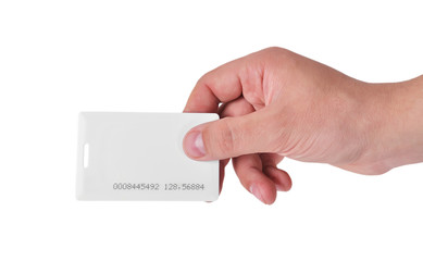 hand holding RFID card