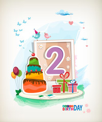 Second Happy Birthday card. Birthday cake and photos