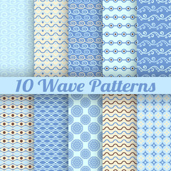 Wave different seamless patterns (tiling)
