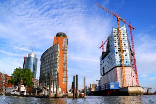 canvas print picture Hamburg Hafencity und Elbphilharmonie