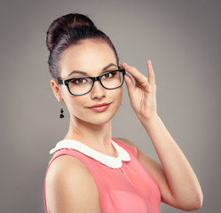 Portrait of stylish glamour lady wearing optical glasses