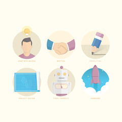 Set of flat concept icons for website, mobile and print brochure